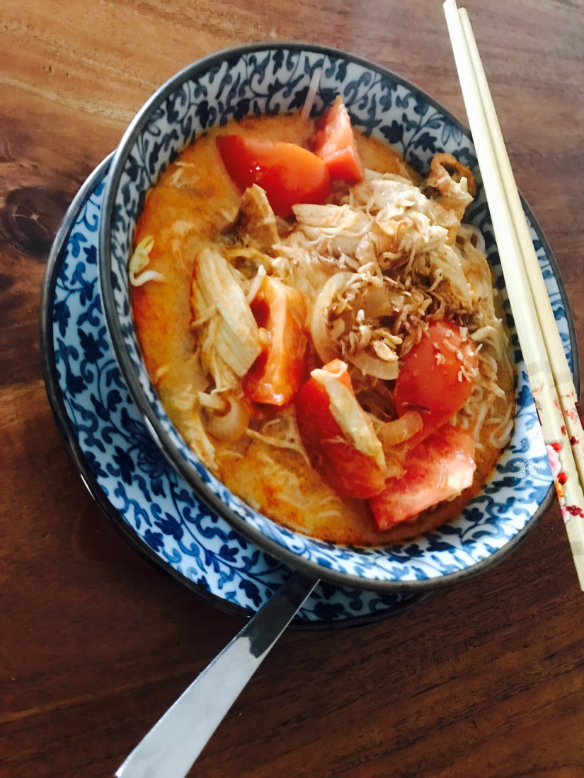 Thai Style Laska with Roast Chicken